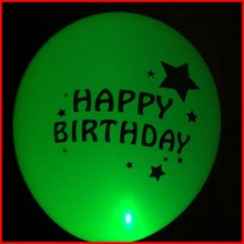 five colors Happy Birthday theme night party decorative led balloon/led light balloon