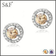 Latest Design Popular Zircon 24 carat gold earrings