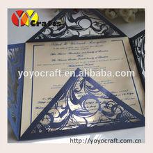 2015 popular laser cut invitation cards, wedding invitation card printed,ribbon