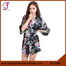 0209 Short Design Silk Satin Women Peacock Kimono Silk Robes for Sleepwear