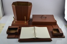 Europe vintage style pu leather desktop storage boxes & pen case & desk mat
