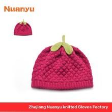 Hotsale Knitted Combed Cotton Baby Hats Cute Raspberry Children Crochet Caps Lovely Handmade Fancy Beanie Girls Winter Hats