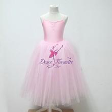 Criança e adulto Tutu de balé longo estilo romântico Tutus de balé praticar Dance vestido Tutu bailarina rosa traje Tutu