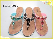 2015 New fashion Slipper Pu insock, upper with bead decoration