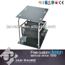 Movable black glass coffee table CT-03