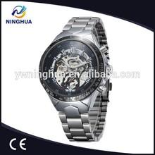Full Steel Big Dial Skeleton Mechanical Watch