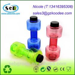 Creative Dumbbell Shape Leak Proof Transparent Plastic Cup Sports Drink Water Bottle 500mL