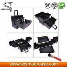 Hair Stylist Makeup Train Case Trolley Cosmetic Case Black Cosmetic Bag
