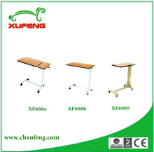 Wooden tabletop ABS adjustable hospital over bed table