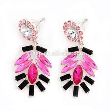 Shiny red blood droplets gem diamond ladies long section earrings for women. SKJ27