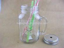 glass mason jars,drinking jar,glass mason jar with handle and metal lid,straw.