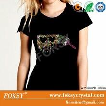 bling bling appliques rhinestone T-shirt design - FOKSY