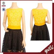 wholesale sleeveless elastic waist blouse round neck lace sleeveless blouse for ladies