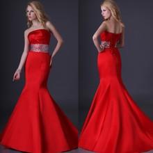 Grace Karin Newest Design Strapless Mermaid Red Long Wedding Dresses 2015 CL3825