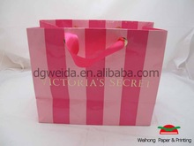pink color paper shopping bag supplier in China