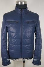 2015 Blue new fashion winter leather jacket