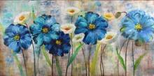 30x60'' High Gloss Effect blue flower oil painting