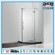 2015 diamond shaped 8mm tempered glass finished sex girl shower room