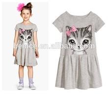 summer short sleeve children solid color fashion style printing cat princess korean summer fashion dress 2015