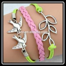 More Than 20 Style Fashion Handmade String Weaving Silver Plated Leaf Charm Bracelet DRJ0037