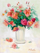 2014 the newest design Decoration flower oil paintings rose vase painting