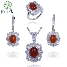 Fashion White Necklace Sets Rhodium Plated Red Jade Wedding Jewelry Set 2015