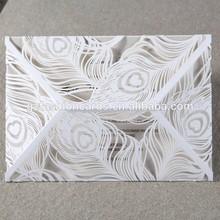 2015 New Design Laser Cut Peacock Wedding Invitation Cards