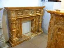 Marble Fireplace Mantel,Resin Yellow Marble Fireplace