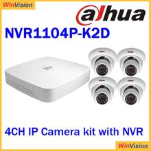 Dahua Hot sell 4 Channel CCTV NVR kits ! Economic 1MP 720P IP Camera 4CH POE NVR Kit