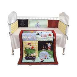 2015 baby Crib Bedding set, baby cot bedding set 100% cotton fabric soft bedding set family use