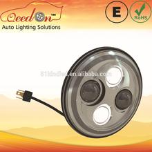 Qeedon 7inch LED Round ECE E-mark DOT car head lamp/auto head lamp/ beam low and high beam driving head lighting