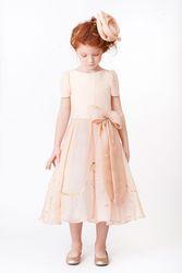 lovely A Line O-Neck Tea-Length Bowknot Flower Girls New 2014 kids wedding princess dress free shipping wedding party pink dress