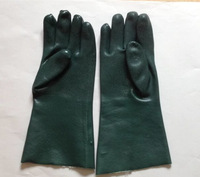 PVC interlock lined fully coated smooth finished glove 40cm , Gauntlet Cuff