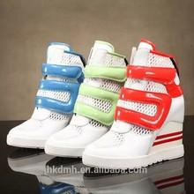 2015 New arrival high heel wedge sneakers cool sexy sport heel increasing 100%full genuine leather wedge sneaker for USA