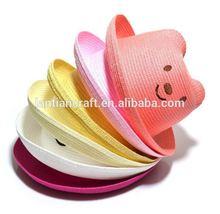 Kids funny Paper Straw Hat/ Children Hat/Custom Cute Ear bear Paper straw Hat