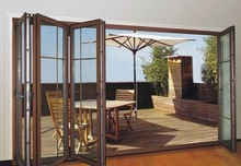 Soundproof Double Glazed Doors Factory Aluminum Frame Sliding Folding Door With Mosuiqto Nets