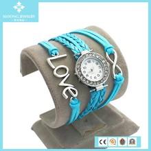 Fashion Women Casual Sky Blue Vintage Leather Bracelet Watches