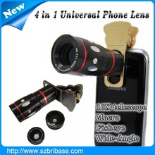 High qulity Clip 4in1 10x telesphoto cell phone camera lens with Fisheye+Wide angle lens+Macro lens for samsung galaxy s3 mini
