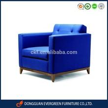 Modern blue fabric sofa chair OAK wooden bottom for hotel room / living room EF114113