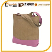 blank plain jute tote bag in shopping bag