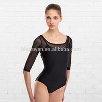 3/4 sleeves adult mesh ballet leotards sexy ballet leotard women BL573