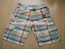 china manufacture hot sale 100% cotton bermudas with belt mens shorts