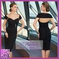 caliente venta al por mayor vestido de fiesta negro vaina de la rodilla longitud por la noche vestido hecho en china