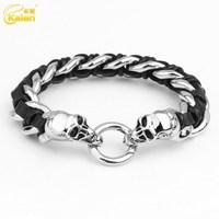 competitive price wholesale skull head bracelet leather stud bracelet