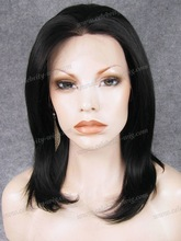 Middle -long natural black fashion synthetic hair for dolls
