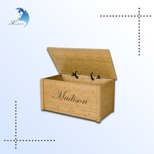 High quality laser engraved natural large storage wooden box/crate with hinges