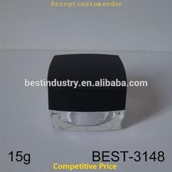 Solvent Transparent 15 GRAM JAR. Raw double acrylic material,black plastic lid jars accept custom order new global wholesale
