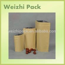 No printed self stand up kraft paper packaging bag /Paper food packaging bag with ziplock