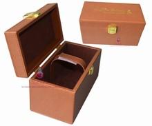 handmade pu leather wine box with custom logo