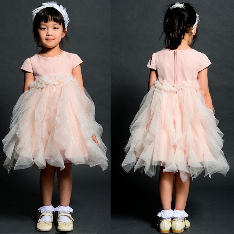 Flor meninas Zipper na altura do joelho Tiers 2014 primeira comunhão vestidos de tule vestido tutu meninas vestidos de primeira comunhão